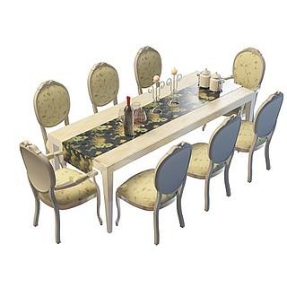 餐厅桌椅3d模型