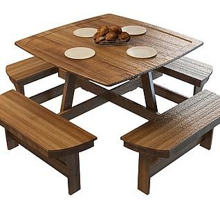 古典桌椅组合3d模型