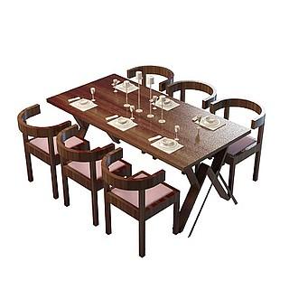 实木餐厅桌椅3d模型