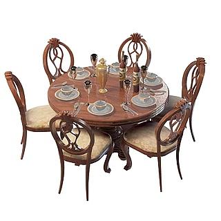 欧式实木餐桌椅3d模型