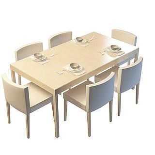 现代时尚餐厅桌椅3d模型