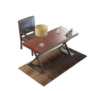 实木办公桌椅3d模型