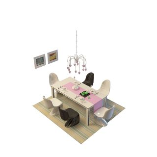 现代餐桌椅组合3d模型