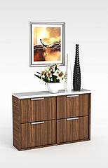 实木边柜模型3d模型