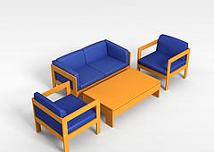木质布艺沙发茶几模型3d模型
