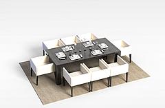 现代餐桌椅组合模型3d模型