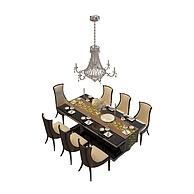 木质桌椅组合3D模型3d模型
