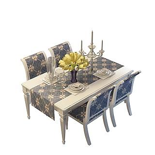 现代家居桌椅组合3d模型