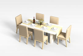 6<font class='myIsRed'>人</font>餐桌椅组合3d模型