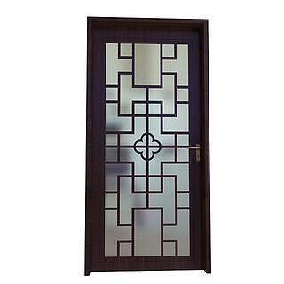 中式镂空木门3d模型