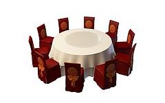 中式圆形餐桌椅组合模型3d模型