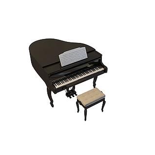 欧式钢琴带琴谱3d模型