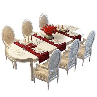现代欧式餐桌椅组合3d模型