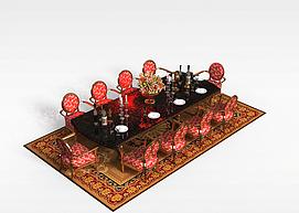 豪华10<font class='myIsRed'>人</font>餐桌椅组合3d模型