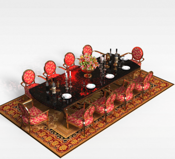 豪华10人餐桌椅组合
