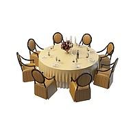 圆形餐桌椅组合3D模型3d模型