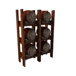 桶装红酒3d模型