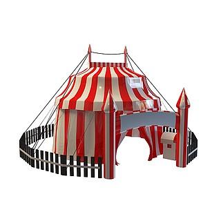 户外游乐园帐篷3d模型