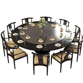 现代黒木圆形餐桌椅组合3d模型