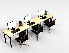 三人办公桌椅组合模型3d模型