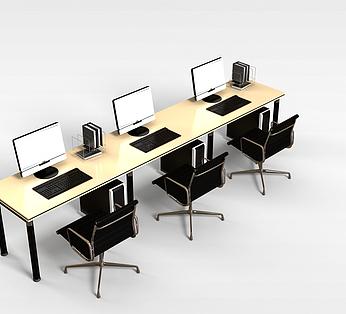 三人办公桌椅组合