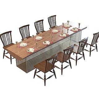 新现代餐桌椅组合3d模型