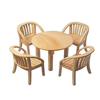实木户外桌椅3d模型
