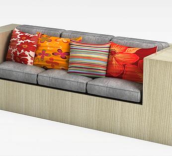 木质三人沙发