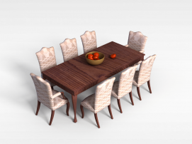 简约八<font class='myIsRed'>人</font>餐桌椅3d模型