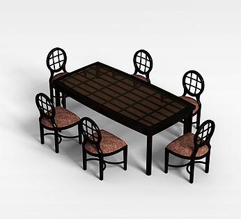 欧式6人桌椅
