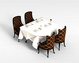 4<font class='myIsRed'>人</font>餐桌椅组合3d模型