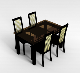 中式4<font class='myIsRed'>人</font>桌椅3d模型