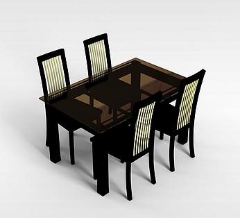 中式4人桌椅