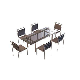 公司培训桌椅3d模型