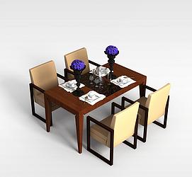 4<font class='myIsRed'>人</font>餐桌椅3d模型
