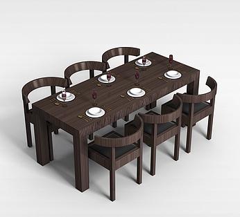 6人实木桌椅组合