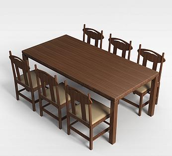 6人实木餐桌椅