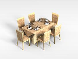 餐厅6<font class='myIsRed'>人</font>桌椅3d模型