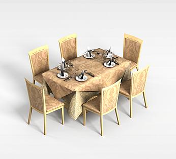 餐厅6人桌椅