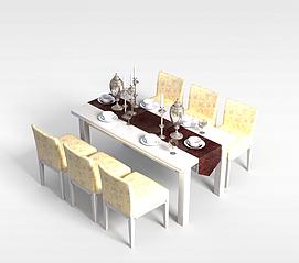 6<font class='myIsRed'>人</font>餐厅桌椅组合3d模型