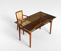 实木书桌椅模型3d模型