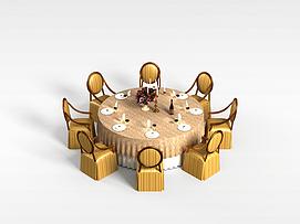 8<font class='myIsRed'>人</font>圆形餐桌椅3d模型