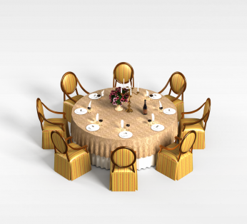 8人圆形餐桌椅
