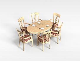 6<font class='myIsRed'>人</font>白木餐桌椅组合3d模型