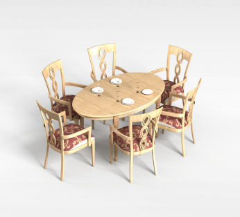 6人白木餐桌椅组合