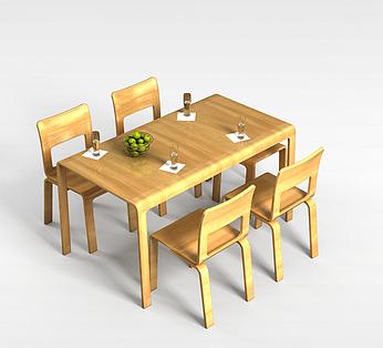 4人实木桌椅组合