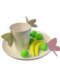 仿真水果杯子碟子模型3d模型