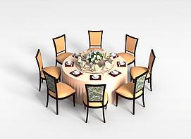 8<font class='myIsRed'>人</font>餐厅桌椅组合3d模型