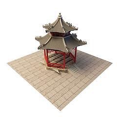 中式凉亭模型3d模型