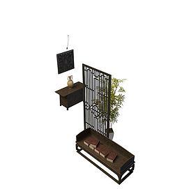 书房盆景3d模型